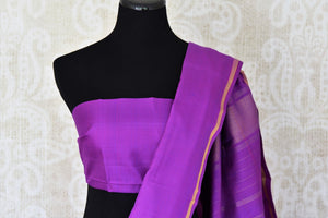 Shop green and purple color Kanchipuram silk saree online in USA. Make your Indian saree look rich with beautiful Indian Kanjeevaram silk sarees from Pure Elegance Indian clothing in USA or shop online.-blouse pallu