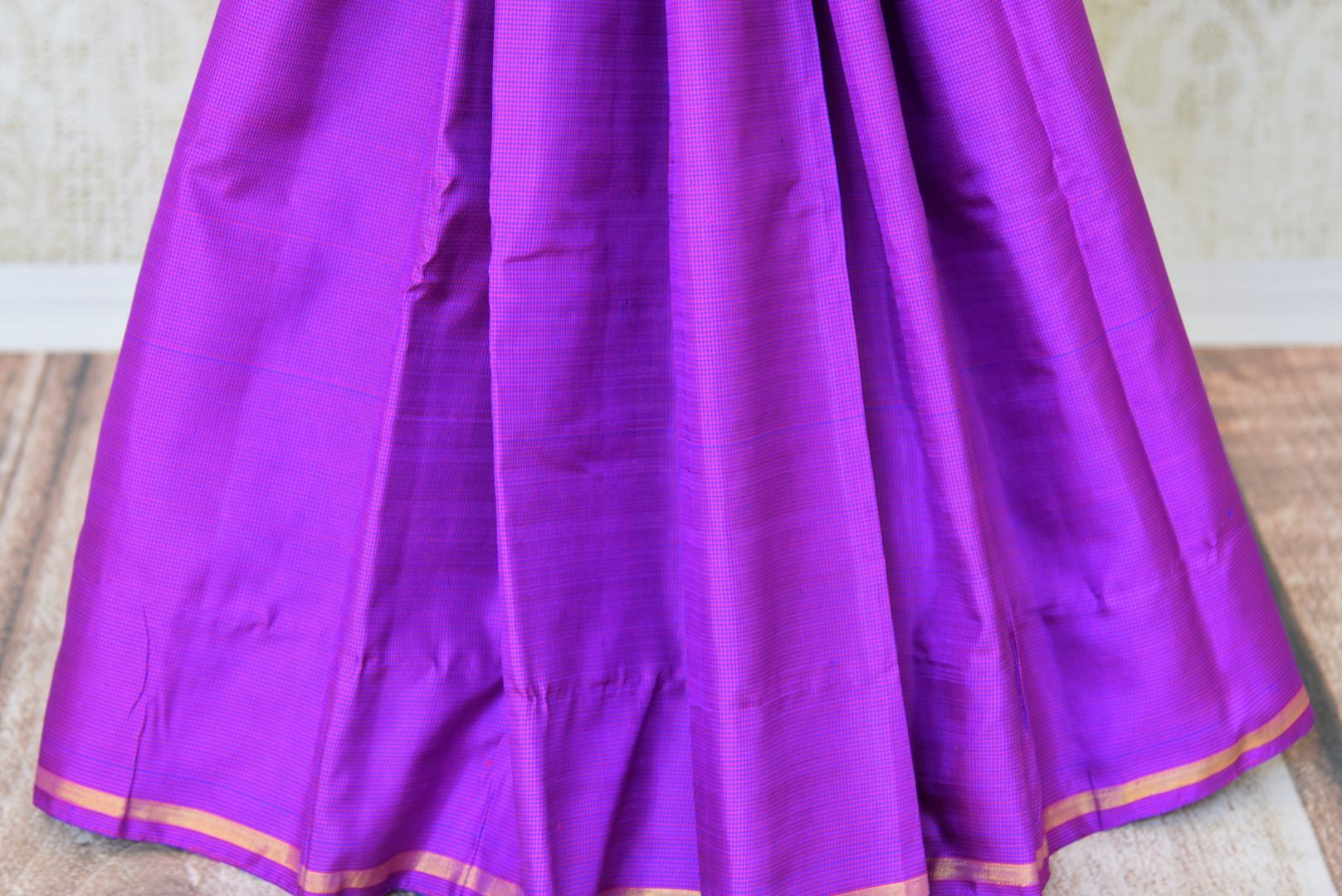 Shop green and purple color Kanchipuram silk saree online in USA. Make your Indian saree look rich with beautiful Indian Kanjeevaram silk sarees from Pure Elegance Indian clothing in USA or shop online.-pleats