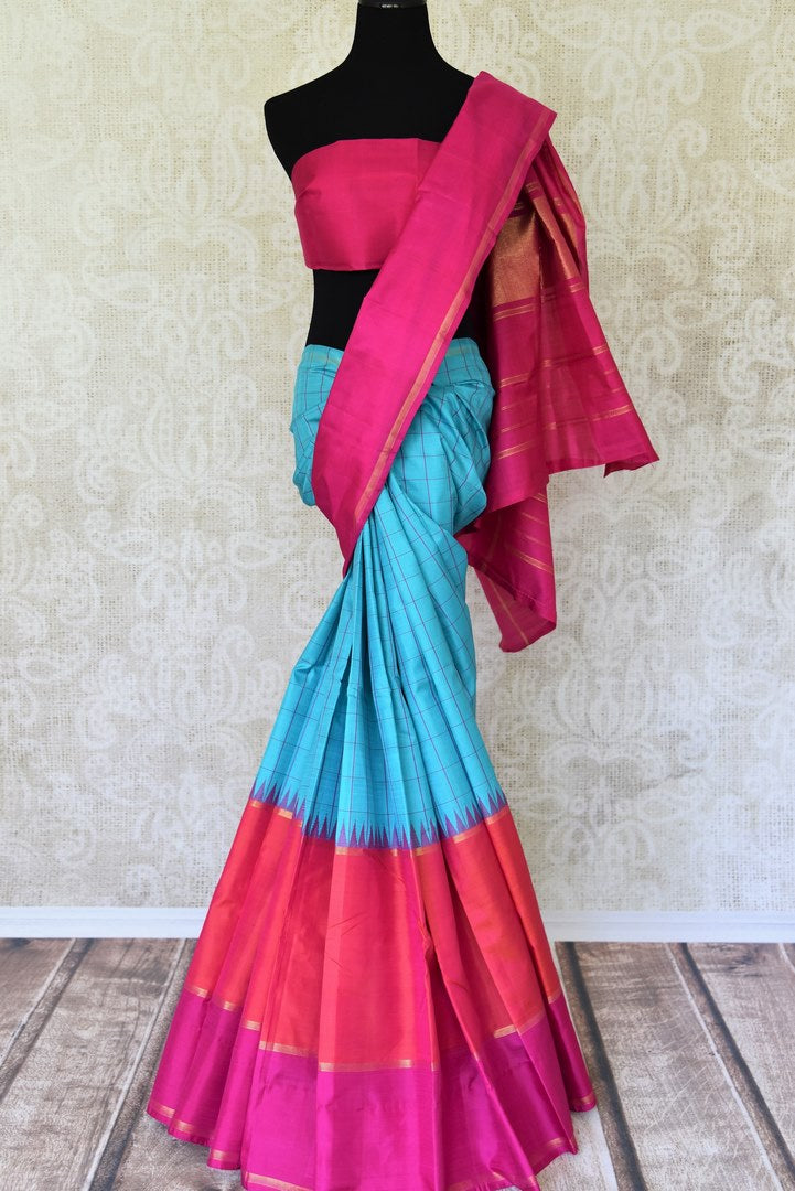 Shop blue,red and pink color Kanchipuram silk sari online in USA. Make your Indian saree look rich with beautiful Indian Kanjeevaram silk sarees from Pure Elegance Indian clothing in USA or shop online.-full view
