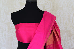 Shop blue,red and pink color Kanchipuram silk sari online in USA. Make your Indian saree look rich with beautiful Indian Kanjeevaram silk sarees from Pure Elegance Indian clothing in USA or shop online.-blouse pallu