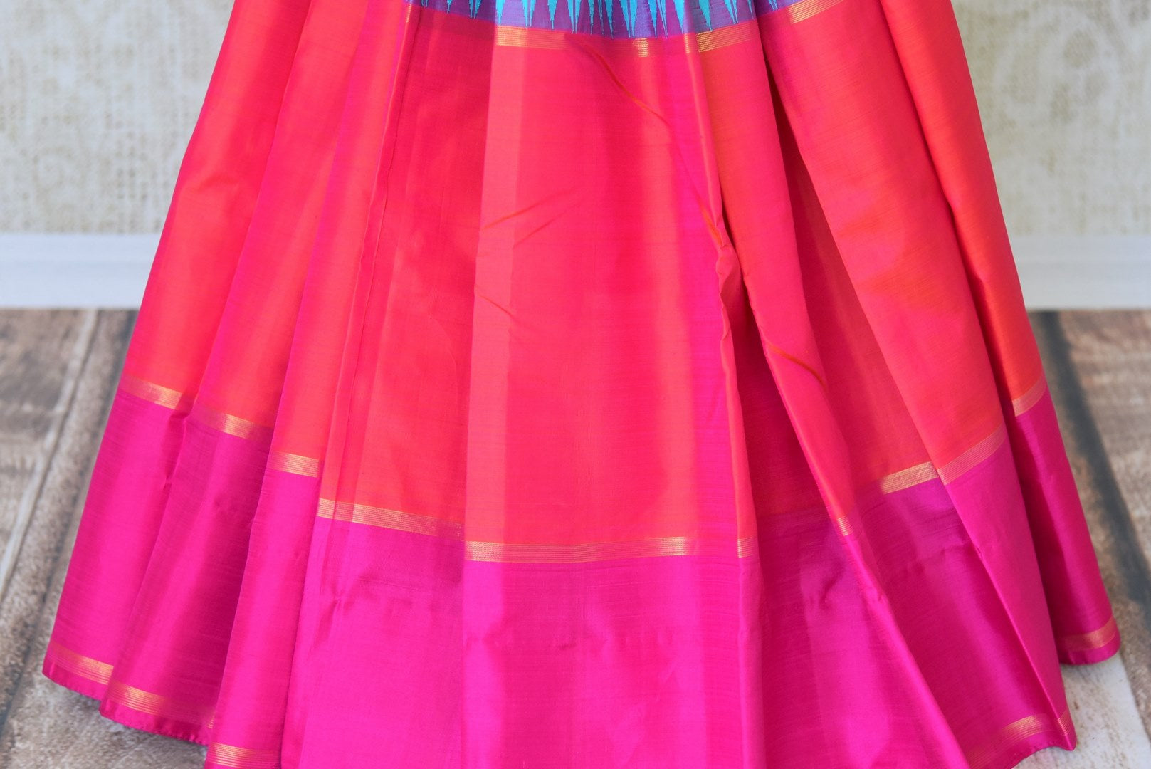 Shop blue,red and pink color Kanchipuram silk sari online in USA. Make your Indian saree look rich with beautiful Indian Kanjeevaram silk sarees from Pure Elegance Indian clothing in USA or shop online.-pleats