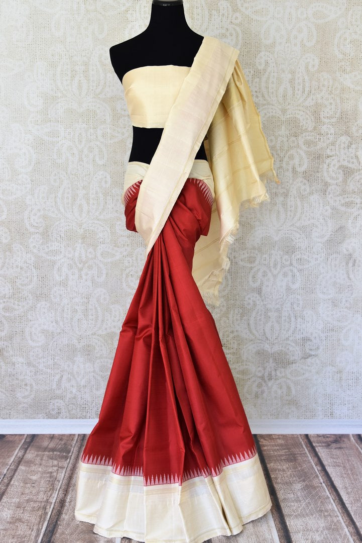 Buy online red Kanchipuram silk sari in USA with cream border and pallu.  For all the Indian women in USA who love Indian clothing and sarees, Pure Elegance clothing store in USA brings an exquisite collection of designer silk sarees, Kanjivaram silk sarees online and in store. Shop now.-full view