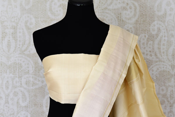 Buy online red Kanchipuram silk sari in USA with cream border and pallu.  For all the Indian women in USA who love Indian clothing and sarees, Pure Elegance clothing store in USA brings an exquisite collection of designer silk sarees, Kanjivaram silk sarees online and in store. Shop now.-blouse pallu