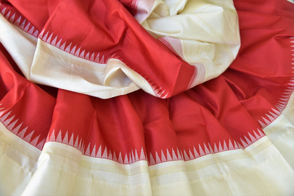 Buy online red Kanchipuram silk sari in USA with cream border and pallu.  For all the Indian women in USA who love Indian clothing and sarees, Pure Elegance clothing store in USA brings an exquisite collection of designer silk sarees, Kanjivaram silk sarees online and in store. Shop now.-details