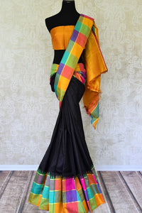 Buy online black Kanchipuram silk saree in USA with multicolor check border.  For all the Indian women in USA who love Indian clothing and sarees, Pure Elegance clothing store in USA brings an exquisite collection of designer silk sarees, Kanjivaram silk saris online and in store. Shop now.-full view