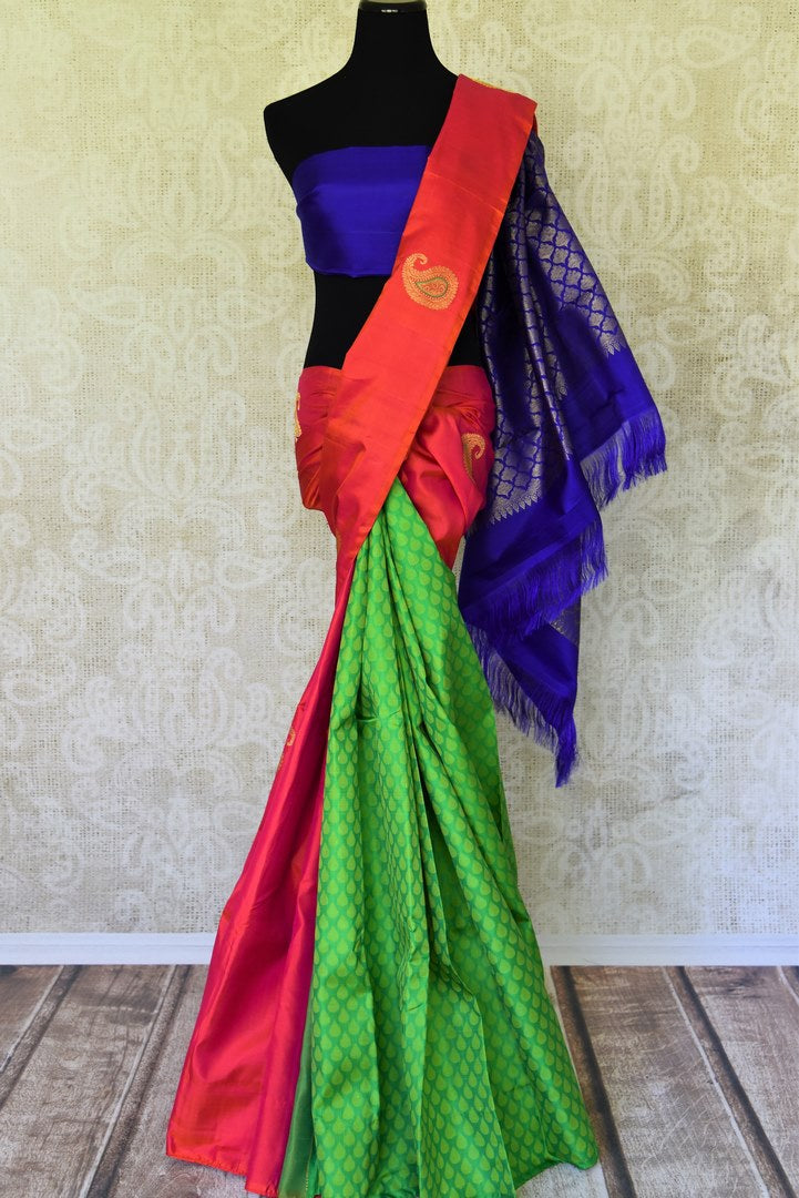Buy tricolor Kanchipuram saree with zari buta online in USA. Adorn your style with a range of exquisite handwoven sarees from Pure Elegance Indian clothing store in USA. We have an exquisite range of Indian designer sarees, silk saris, Banarasi saris and many other varieties also available at our online store.-full view