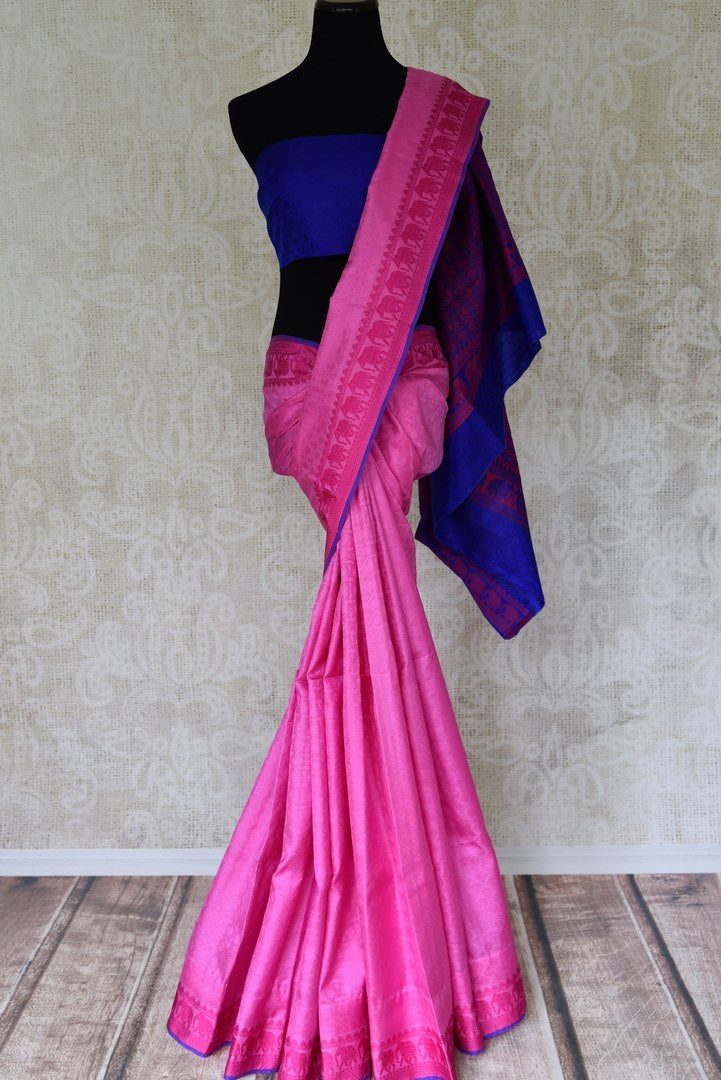 Buy elegant pink Kanjeevaram silk sari online in USA with blue pallu. Get your traditional style right with a range of beautiful Indian designer sarees from Pure Elegance clothing store in USA. Choose from a range of exquisite Banarasi sarees, Kanchipuram silk sarees, wedding sarees also available at our online store.-full view