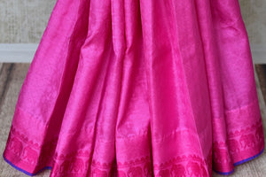 Buy elegant pink Kanjeevaram silk sari online in USA with blue pallu. Get your traditional style right with a range of beautiful Indian designer sarees from Pure Elegance clothing store in USA. Choose from a range of exquisite Banarasi sarees, Kanchipuram silk sarees, wedding sarees also available at our online store.-pleats