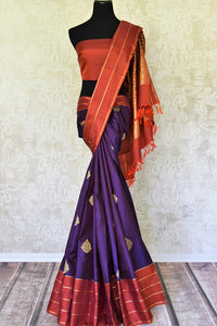 Shop purple Kanchipuram silk saree with zari buta online in USA. Adorn your style with a range of exquisite handwoven sarees from Pure Elegance Indian clothing store in USA. We have an exquisite range of Indian designer sarees, silk saris, Banarasi saris and many other varieties also available at our online store.-full view