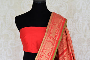 Buy yellow kanji ikkat saree online in USA with red zari border. Add the richness of Indian culture to your saree look with Kanjeevaram silk saris, Indian designer saris, bridal sarees from Pure Elegance Indian clothing in USA or shop online.-blouse pallu