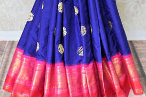 Buy stunning blue kanji ikkat saree online in USA with pink zari border and zari buta. Add the richness of Indian culture to your saree look with Kanjeevaram silk saris, Indian designer saris, bridal sarees from Pure Elegance Indian clothing in USA or shop online.-pleats