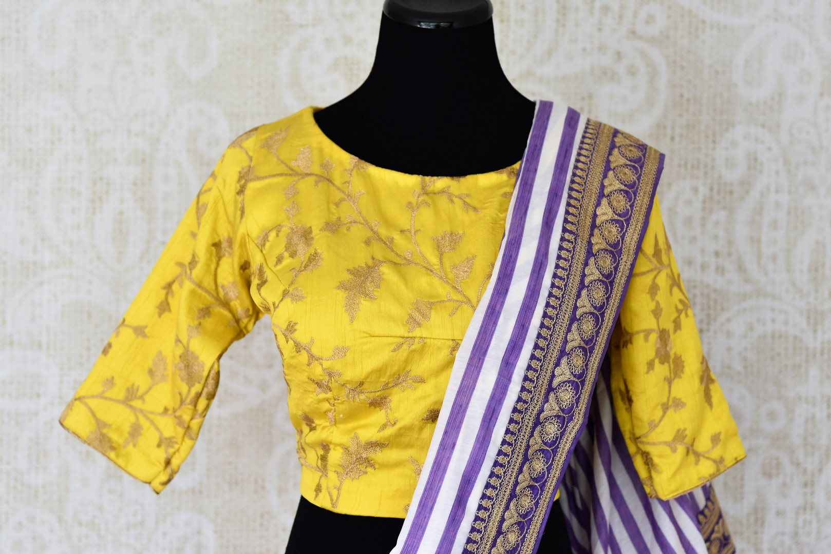 Buy purple and white stripes embroidered silk saree with blouse online in USA. Shop exclusive Indian designer saris, concept sarees, saree sets in USA at Pure Elegance clothing store. Explore a range of traditional Indian women clothing also available at our online store. Shop now.-blouse pallu
