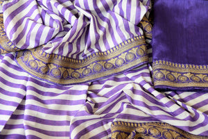 Buy purple and white stripes embroidered silk saree with blouse online in USA. Shop exclusive Indian designer saris, concept sarees, saree sets in USA at Pure Elegance clothing store. Explore a range of traditional Indian women clothing also available at our online store. Shop now.-details