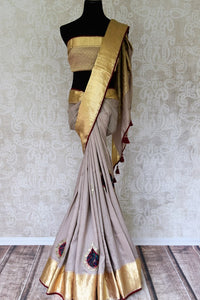 Buy elegant grey muga saree with applique work online in USA. Bring your ethnic style up with Indian designer saris, bridal sarees, party sarees from Pure Elegance Indian clothing store in USA or shop online. -full view