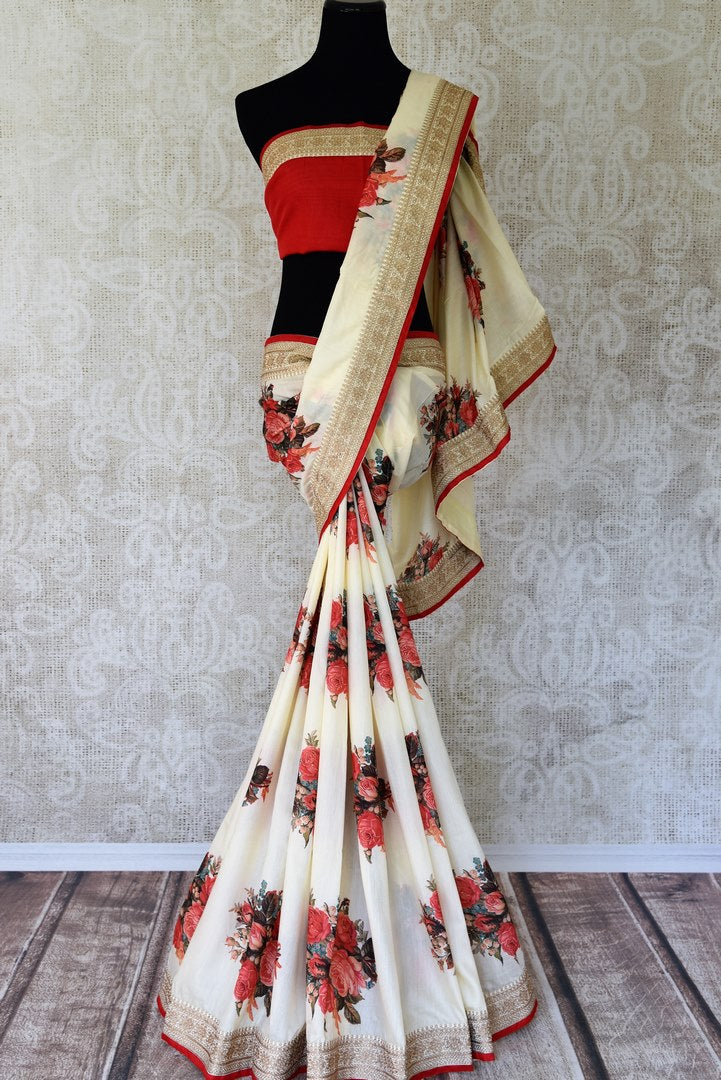 Buy off white embroidered muga tussar saree online in USA with floral print. Take your Indian style a notch up with a range of beautiful Indian clothing from Pure Elegance fashion store. We have a range of traditional Indian sarees, designer sarees in USA online and in our store. Shop now.-full view