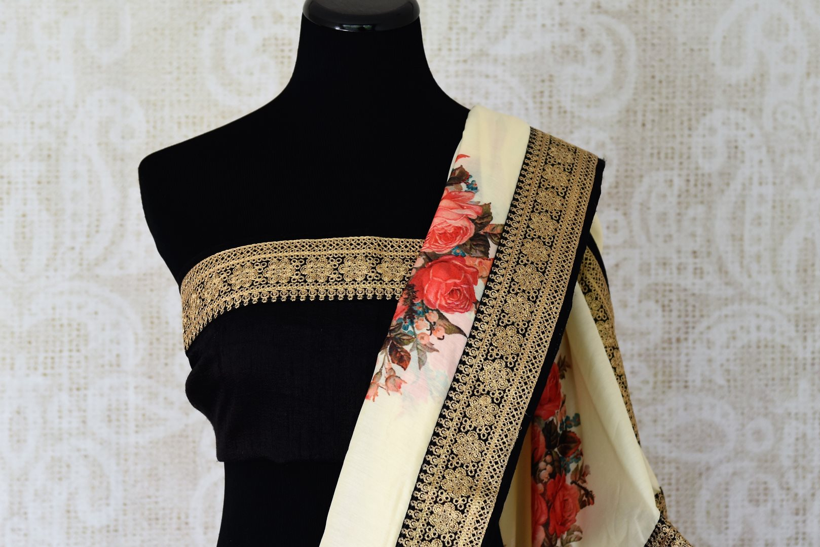 Buy off-white printed muga tussar sari online in USA with black embroidered border. Take your Indian style a notch up with a range of beautiful Indian clothing from Pure Elegance fashion store. We have a range of traditional Indian sarees, designer sarees, handloom sarees in USA online and in our store. Shop now.-blouse pallu