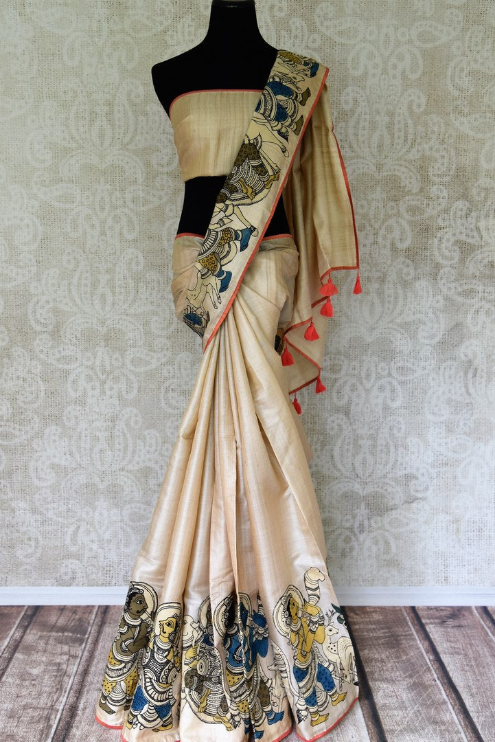 Buy off white silk saree with Kalamkari applique work online in USA. Shop exclusive Indian designer saris, handloom sarees, Banarasi saris, wedding sarees in USA at Pure Elegance clothing store. Explore a range of traditional Indian women clothing also available at our online store. Shop now.-full view