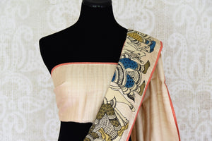 Buy off white silk saree with Kalamkari applique work online in USA. Shop exclusive Indian designer saris, handloom sarees, Banarasi saris, wedding sarees in USA at Pure Elegance clothing store. Explore a range of traditional Indian women clothing also available at our online store. Shop now.-blouse pallu