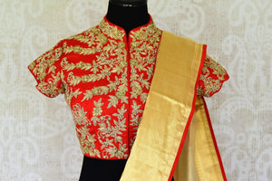 Buy cream tissue saree online in USA with red embroidered saree blouse. Let your ethnic look shine with beautiful Indian designer sarees from Pure Elegance Indian fashion store in USA. You can also browse through our website and shop online.-blouse pallu