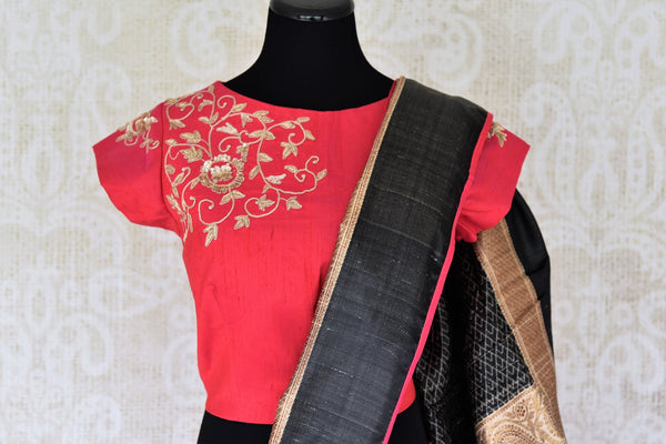 Buy gorgeous cream saree online in USA with red embroidered sari blouse. Let your ethnic look shine with beautiful Indian designer sarees, handloom sarees, wedding sarees from Pure Elegance Indian fashion store in USA. You can also browse through our website and shop online.-blouse pallu