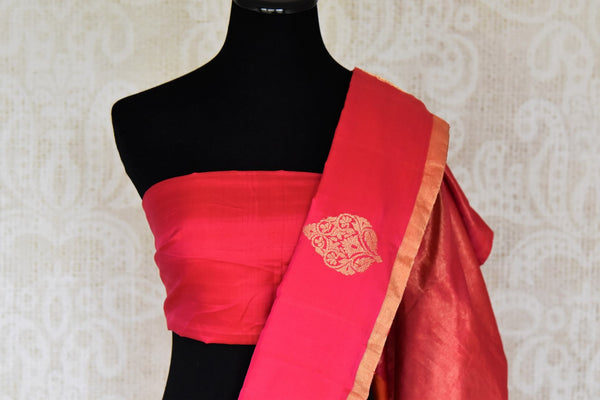 Buy stunning cream and beige striped Kanjeevaram saree online in USA with red embroidered sari blouse. Let your ethnic look shine with beautiful Indian designer sarees, handloom sarees, wedding sarees from Pure Elegance Indian fashion store in USA. You can also browse through our website and shop online.-blouse pallu