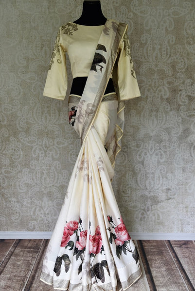 Buy off white crepe designer saree online in USA with readymade sari blouse. Let your ethnic look shine with beautiful Indian designer sarees, handloom sarees, wedding saris from Pure Elegance Indian fashion store in USA. You can also browse through our website and shop online.-full view