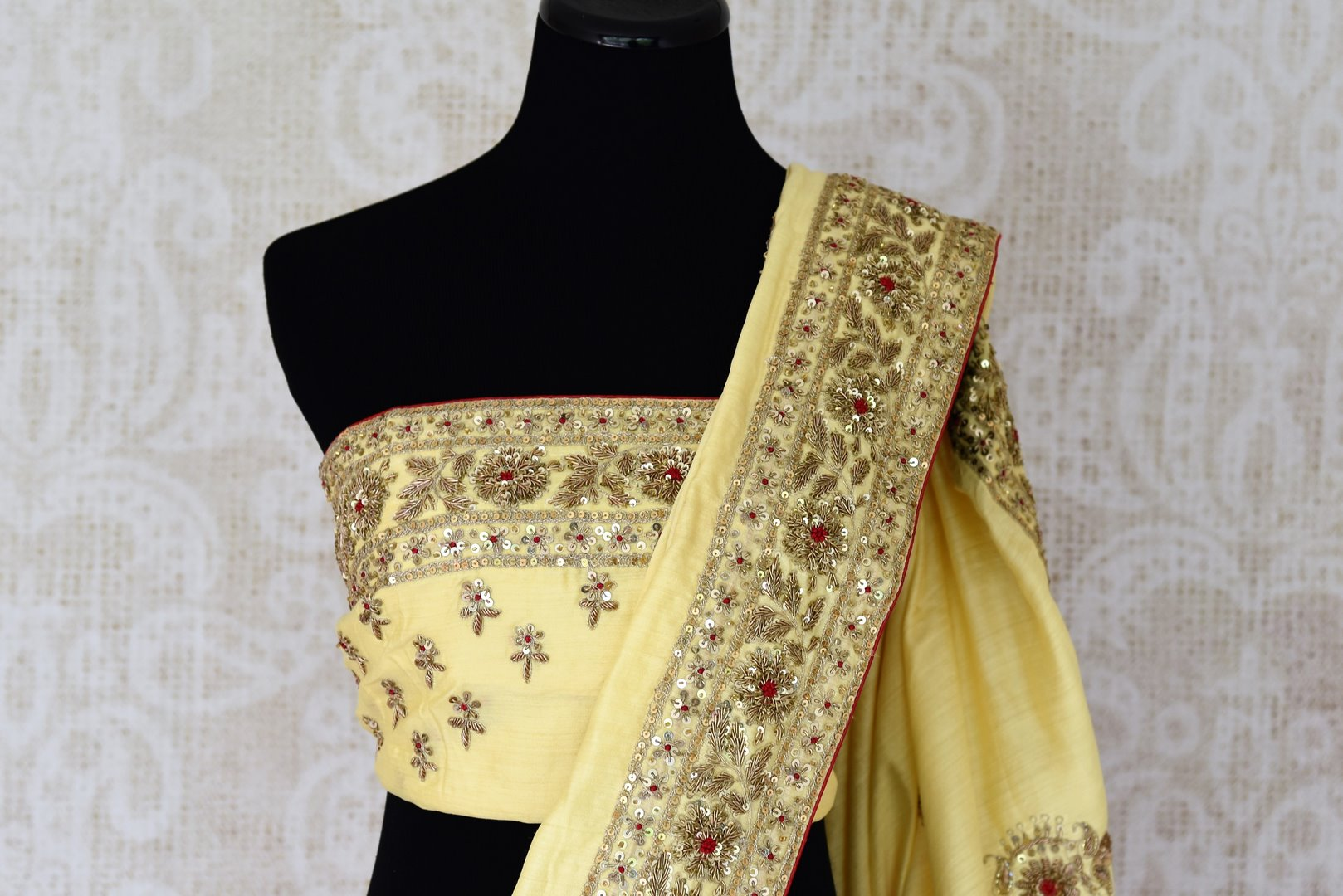 Buy cream color muga silk saree with hand embroidery online in USA. Shop exclusive Indian designer saris, handloom sarees, Banarasi saris, wedding sarees in USA at Pure Elegance clothing store. Explore a range of traditional Indian women clothing also available at our online store. Shop now.-blouse pallu