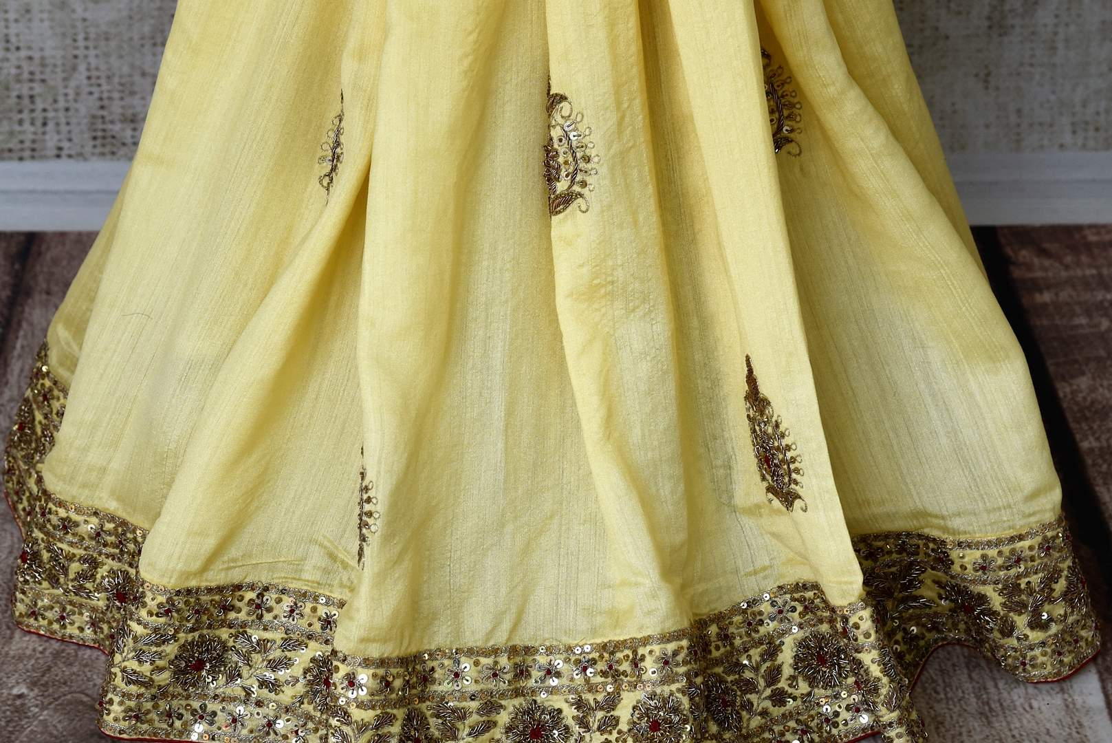 Buy cream color muga silk saree with hand embroidery online in USA. Shop exclusive Indian designer saris, handloom sarees, Banarasi saris, wedding sarees in USA at Pure Elegance clothing store. Explore a range of traditional Indian women clothing also available at our online store. Shop now.-pleats
