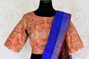 Buy blue and orange matka silk saree online in USA with readymade sari blouse. Let your ethnic look shine with beautiful Indian designer sarees, handloom sarees, wedding saris from Pure Elegance Indian fashion store in USA. You can also browse through our website and shop online.-blouse pallu