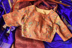 Buy blue and orange matka silk saree online in USA with readymade sari blouse. Let your ethnic look shine with beautiful Indian designer sarees, handloom sarees, wedding saris from Pure Elegance Indian fashion store in USA. You can also browse through our website and shop online.-details