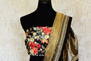 Shop stunning gold tissue saree with embroidered border online in USA from Pure Elegance. Let your ethnic style be one of a kind with an exquisite variety of Indian designer sarees, pure silk sarees, Bollywood sarees from our exclusive fashion store in USA.-blouse pallu