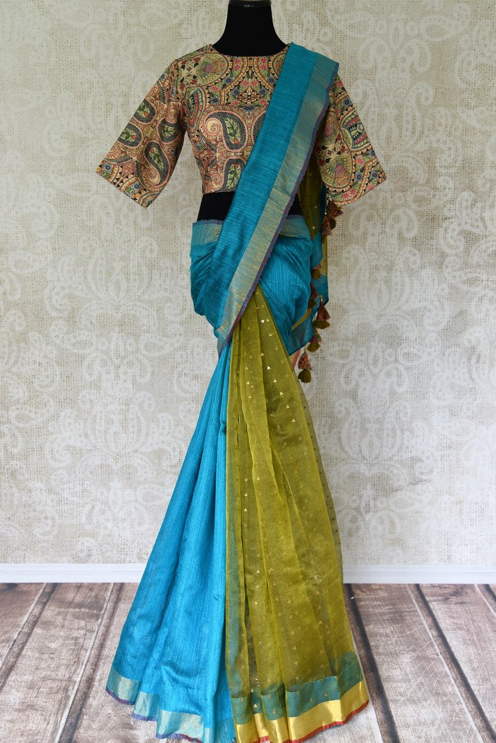 Buy blue and green woven matka silk saree online in USA with printed sari blouse. Make every occasion special with beautiful Indian designer sarees, handloom sarees, wedding saris from Pure Elegance Indian fashion store in USA. You can also browse through our website and shop online.-full view