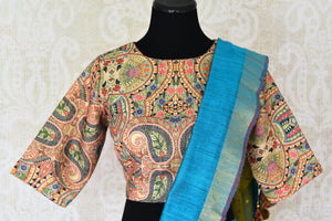 Buy blue and green woven matka silk saree online in USA with printed sari blouse. Make every occasion special with beautiful Indian designer sarees, handloom sarees, wedding saris from Pure Elegance Indian fashion store in USA. You can also browse through our website and shop online.-blouse pallu
