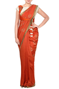 Shop rust orange saree with angrakha saree blouse online in USA. Pure Elegance Indian fashion store presents an alluring collection of Indian designer sarees, wedding saris in USA for parties, weddings and special occasions.-full view