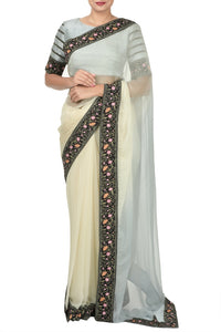 Buy grey and white ombre chiffon saree online in USA. Pure Elegance Indian clothing store presents an alluring collection of Indian designer sarees, wedding saris, designer saree blouses in USA for parties, weddings and special occasions.-full view