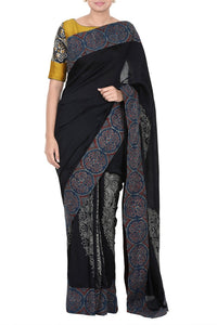 Buy midnight blue chanderi saree online in USA with ajrak border. Pure Elegance Indian clothing store presents an exquisite range of Indian designer sarees, wedding saris, handloom sarees in USA for parties, weddings and special occasions. -full view