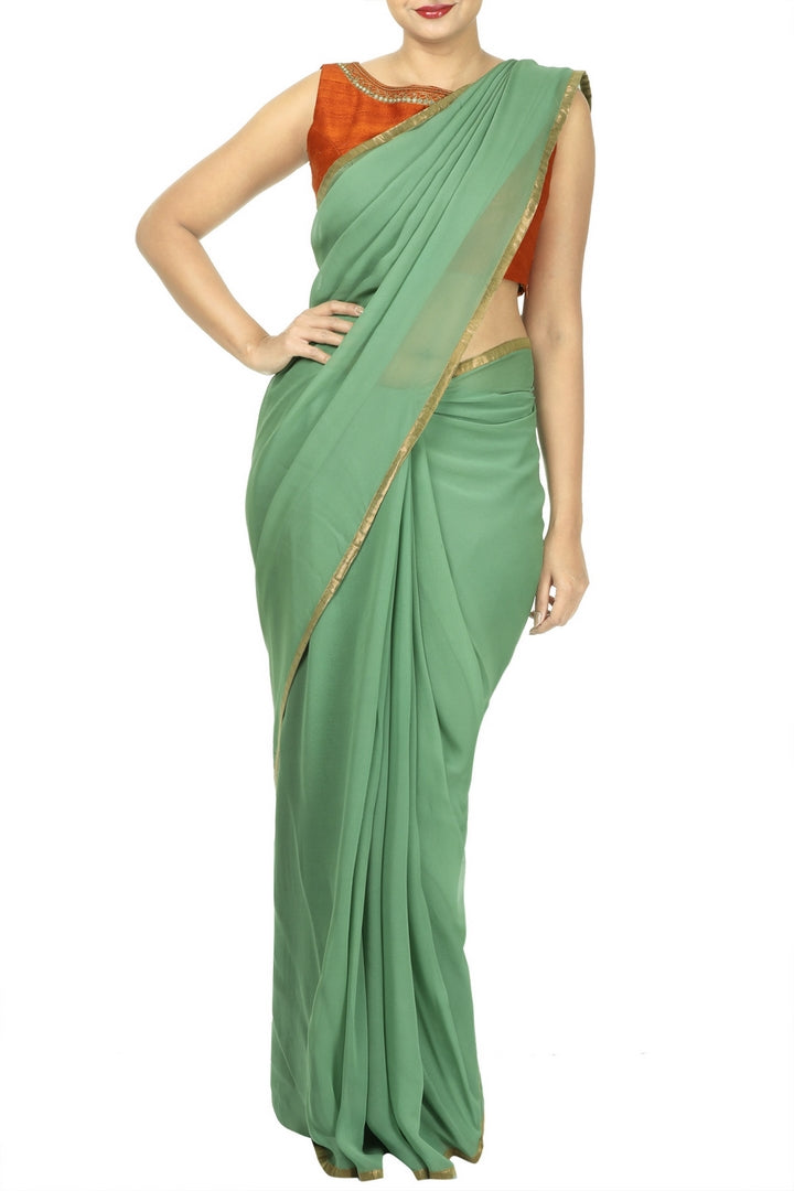 Buy olive green georgette saree online in USA with digital print. For Indian women in USA, Pure Elegance Indian clothing store brings an exquisite range of Indian designer saris, wedding saris, handloom sarees in USA for parties, weddings and special occasions. -full view
