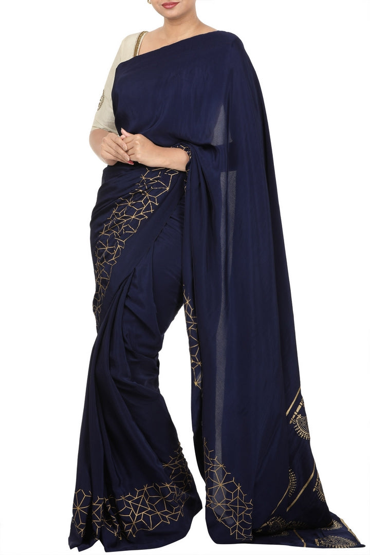 Buy midnight blue crepe saree online in USA with block print pallu. For Indian women in USA, Pure Elegance Indian clothing store brings an exquisite range of Indian designer saris, wedding saris, handloom sarees in USA for parties, weddings and special occasions. -full view