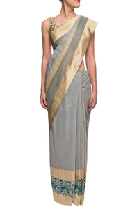 Shop designer grey embroidered sari with saree blouse online in USA. Get set to rock special occasions in beautiful Indian designer sarees from Pure Elegance Indian clothing store in USA or shop online at the comfort of your home.-full view