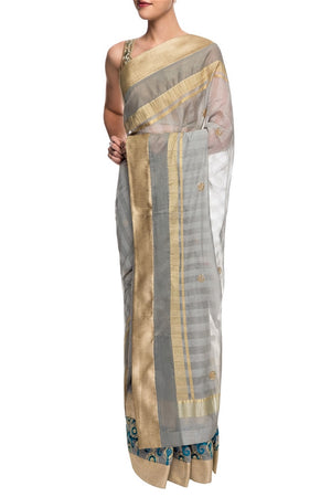 Shop designer grey embroidered sari with saree blouse online in USA. Get set to rock special occasions in beautiful Indian designer sarees from Pure Elegance Indian clothing store in USA or shop online at the comfort of your home.-full view 2