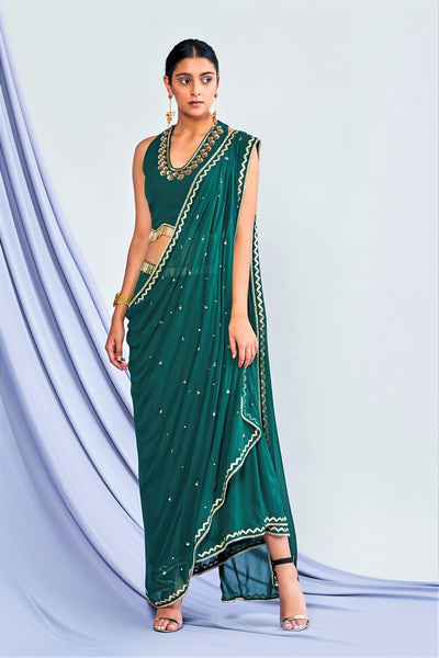 Buy bottle green concept saree online in USA with matching blouse. Shop exclusive Indian designer saris, party sarees, wedding sarees in USA at Pure Elegance clothing store. Explore a range of traditional Indian women clothing also available at our online store. Shop now.-full view