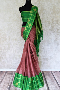 Buy brown Kanjivaram silk saree online in USA with green check border and zari buta. For more such gorgeous designer saris, shop at Pure Elegance Indian fashion store in USA. A beautiful range of traditional Kanchipuram silk saris is available for Indian women living in USA. You can also shop at our online store.-full view