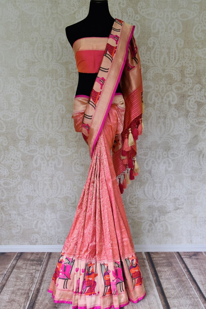 Shop pink Banarasi silk sari online in USA with overall floral zari jaal. Find a range of pure handloom saris at Pure Elegance Indian clothing store in USA. Elevate your traditional style with a range of Indian clothing, designer silk sarees, Banarasi sarees, and much more also available at our online store.-full view