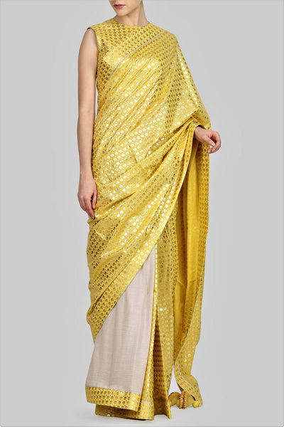 Buy yellow foil print crepe & cotton half and half saree online in USA with matching blouse. For more such gorgeous designer sarees with blouses, shop at Pure Elegance Indian fashion store in USA. A beautiful range of traditional Indian sarees and clothing is available for Indian women living in USA. You can also shop at our online store.-full view