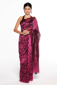 1f5f13e904f532 Shop wine color designer lace saree online in USA at Pure Elegance online  store. Give
