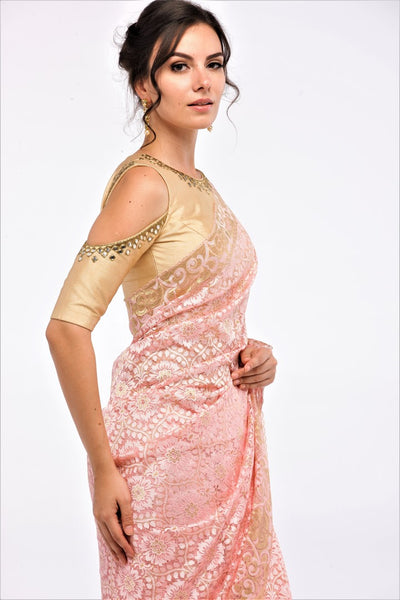 Buy peach color floral pattern lace saree with blouse piece online in USA at Pure Elegance online store. Give yourself a brilliant makeover with a range of exquisite Indian designer sarees from our clothing store in USA. Choose as per your taste whether it is wedding sarees, traditional silk sarees, handloom sarees we have got all under one roof. -blouse