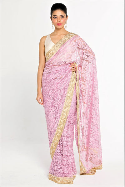 Buy Lavender Color Embroidered Lace Saree Silk Blouse Piece Online Usa