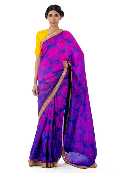 Shop purple color pure silk shiburi print sari online in USA with marodi work blouse. Find a range of exquisite Indian handwoven saris at Pure Elegance clothing store in USA. Keep your ethnic look perfect with a range of traditional Indian clothing, pure silk sarees, wedding sarees and much more also available at our online store.-full view
