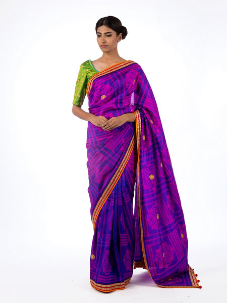 Shop purple color silk shiburi print saree online in USA with marodi work blouse. Find a range of exquisite Indian handwoven saris at Pure Elegance clothing store in USA. Keep your ethnic look perfect with a range of traditional Indian clothing, pure silk sarees, wedding saris and much more also available at our online store.-full view