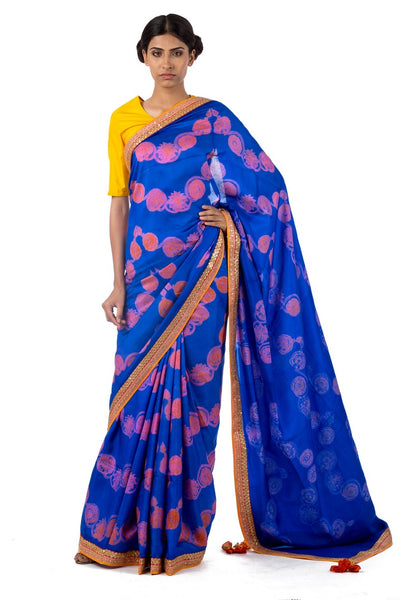 Shop blue color silk shiburi print saree online in USA with marodi work blouse. Find a range of exquisite Indian designer sarees at Pure Elegance clothing store in USA. Keep your ethnic look perfect with a range of traditional Indian clothing, pure silk sarees, wedding saris and much more also available at our online store.-full view